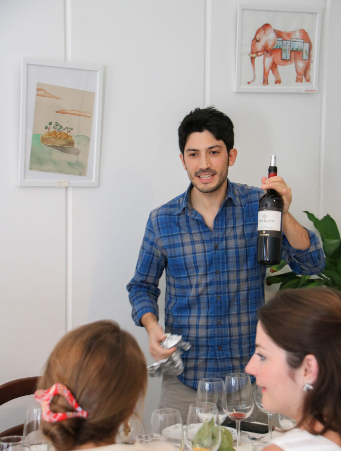 sommelier at wine tasting in florence